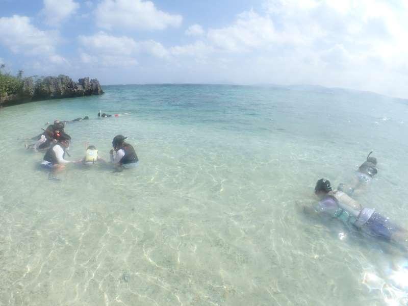 海でシュノーケルの練習をしているツアー客